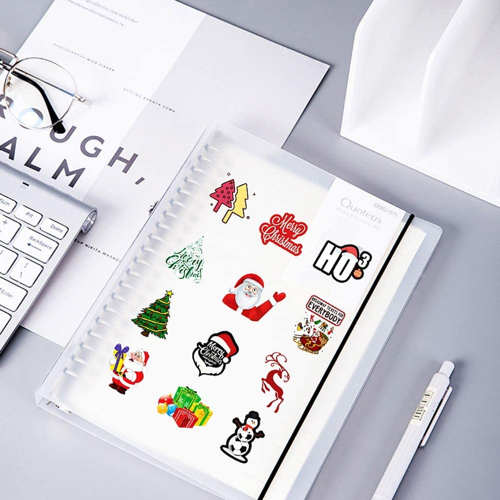 Tree Bear SUMAJU 50 Pcs Christmas Stickers Xmas Stickers Decal Cartoon Laptop Stickers Vsco Vinyl Stickers with Snowman Reindeer Santa Claus