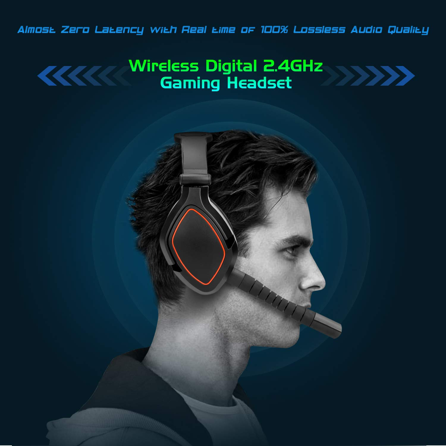 664033cc75f Amazon.com: HUHD 2.4GHz Wireless Gaming Headset 7.1 Surround Sound Game  Headphone Detachable Mic USB Transmitter with Optical Fiber and AUX Audio  Jack for ...