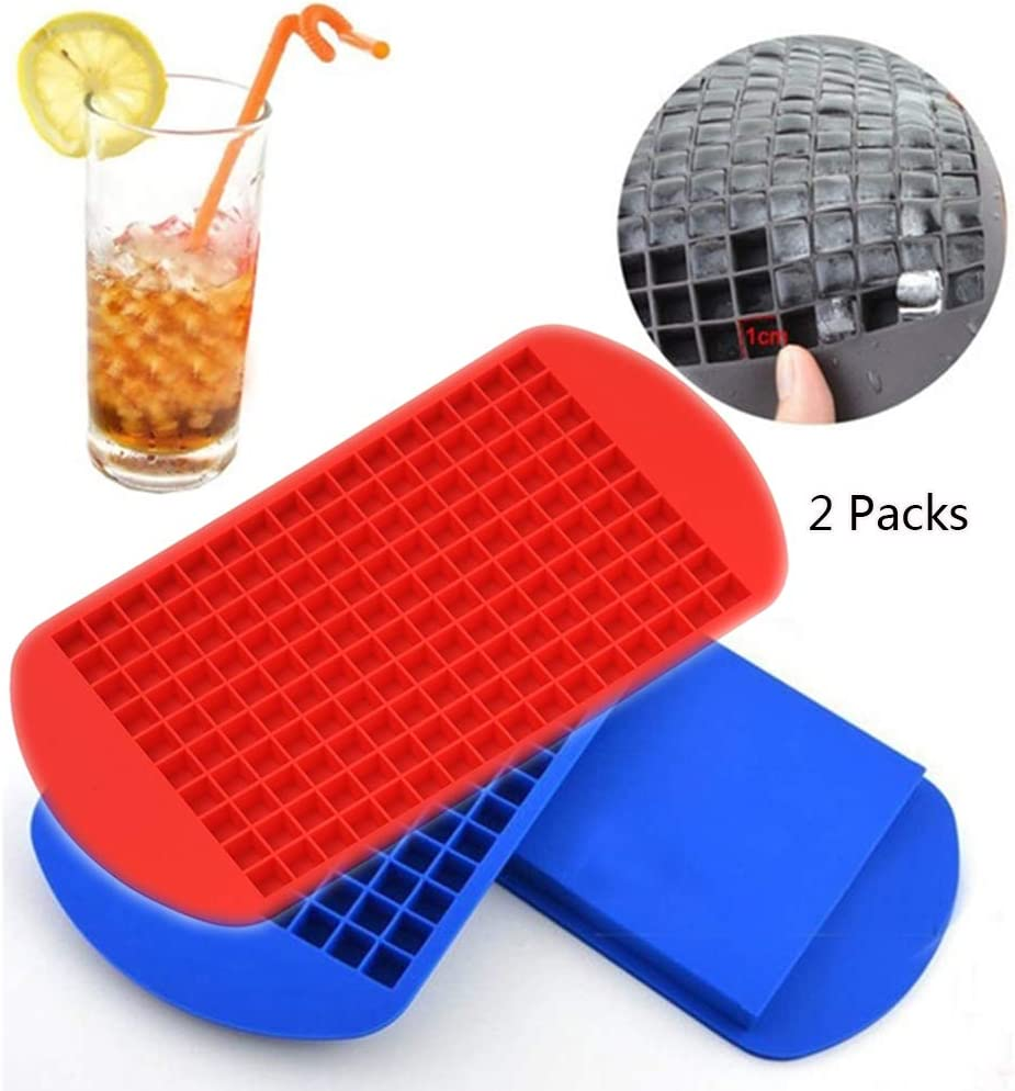 Set of 2 AUFELL 160 Grids Ice Cubes Mold Square Shape Silicone Mini Ice Cubes Tray Kitchen Bar Pudding Mould Small Ice Cube Making Tool 4.3x6.7 inch Blue