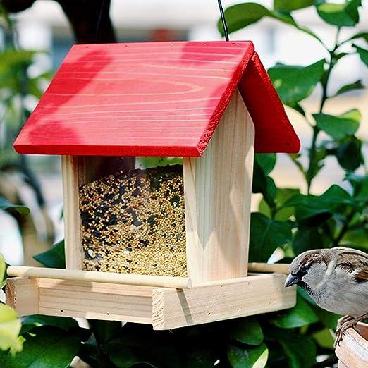 Freedomanoth Comedero para Pájaros, Colgando Villa De Madera A Prueba De Lluvia Balcón Caja De Comida para Pájaros para Patio Exterior Jardín Jardín Regular: Amazon.es: Hogar