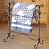 Quilt Rack Made of Solid Iron Three Bars For Hanging Blankets Can Accommodate A King Size Comforter in Matter Black With Bronze Rub-Through Color