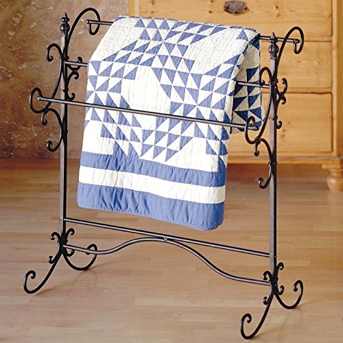 Quilt Rack Made of Solid Iron Three Bars For Hanging Blankets Can Accommodate A King Size Comforter in Matter Black With Bronze Rub-Through Color by eCom Fortune