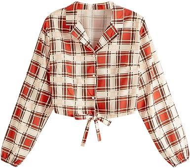 Poachers Tops Mujer Fiesta Verano Camisas Mujer Tallas Grandes Cuadros Blusas Mujer Verano 2019 Camisetas de Gasa Blusas para Mujer Elegantes Fiesta Camisetas Mujer Verano Talla Grande: Amazon.es: Ropa y accesorios