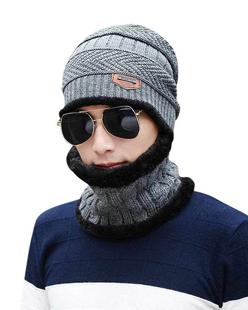 ZiXing Men Hat Scarves Set Thermal Winter Warm Knitted Beanie Hat Neck Warmer