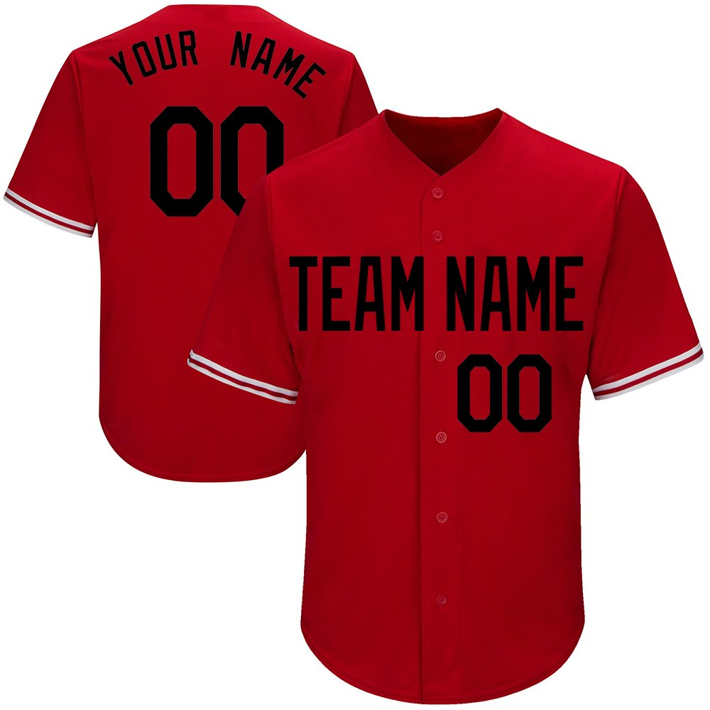 Customized Youth Red Mesh Baseball Jerseys with Embroidered Team Name Player Name and Numbers,Black Size 2XL by DEHUI
