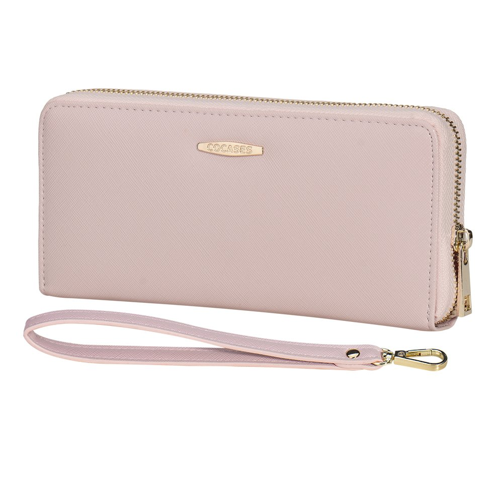 Women Wallet, COCASES RFID Blocking PU Leather Zipper Ladies Purse Credit Card Organizer Cash Coin Pocket Wristlet (Pink)