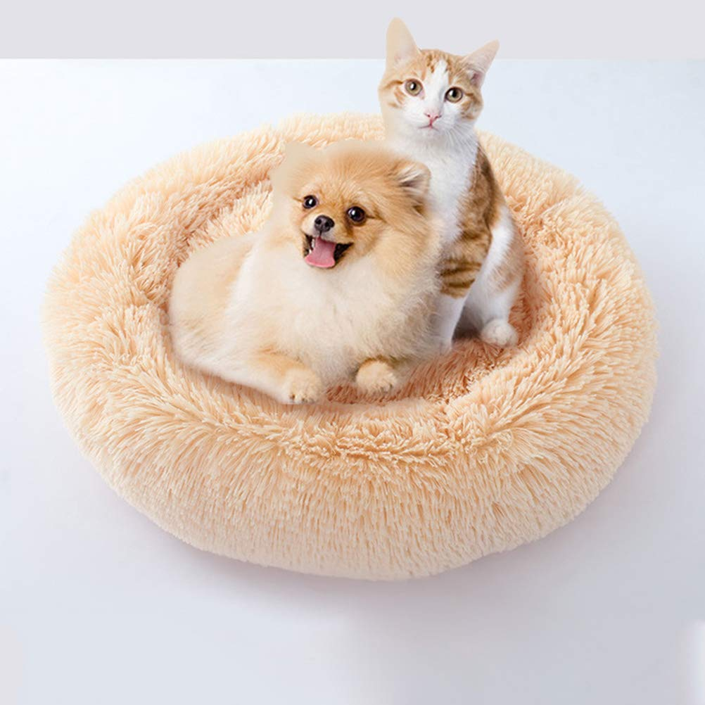 POPETPOP Luxury Shag Fur Donut Cuddler Round Cat and Dog Cushion Bed Self-Warming and Cozy for Improved Sleep (Big Size, Beige) by POPETPOP (Image #5)