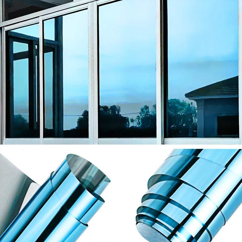 TTMOW Vinilo Pet Película Adhesiva Lámina de Espejo para Ventanas Cristal Unidireccional Protector de Privacidad Anti 99% UV y Anti 85% IR para Hogar y Oficina (Azul y Plata, 90 * 400cm)