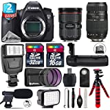 Canon EOS 6D DSLR Camera + Canon EF 24-70mm 2.8L II USM Lens + 70-300mm Macro Lens + Battery Grip + Shotgun Microphone + LED Kit + 2yr Extended Warranty + 32GB Class 10 - International Version