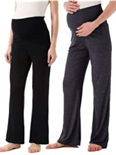 955d07a218c71 Ecavus Women's Maternity Wide/Straight Versatile Comfy Palazzo Lounge Pants  Stretch Pregnancy Trousers