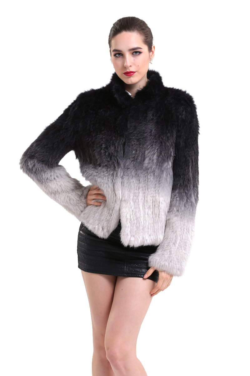 Topfur Womens Knitted Black and Silver Rabbit Fur Warm Overcoat(US 4)