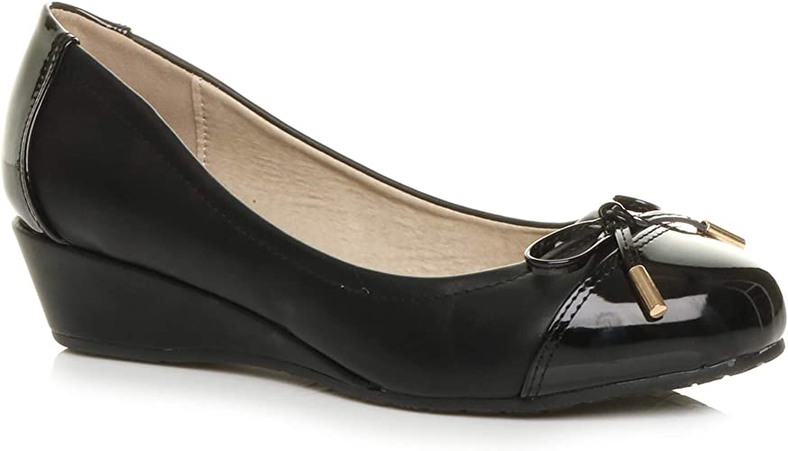 Womens Ladies Low mid Heel Wedge Bow