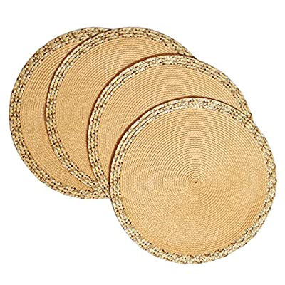 "Creative Dining Group Multi Color Border Braided Round Placemats (Set of 4), 15"", Golden - Protects your table from scratches and stains. High Quality. GREAT VALUE! Very easy to clean.  Wipe clean with a damp cloth Perfect for indoor and outdoor use.   Made of 100 Percent polypropylene - placemats, kitchen-dining-room-table-linens, kitchen-dining-room - 61dOunCumsL. SS400  -"
