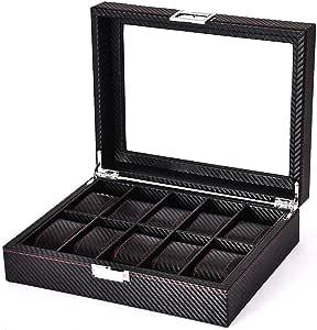 Carbon Fiber Design Watch Box - 10 slots Luxury Watch Case Display Organizer,Men's watch Storage Box With HD glass top