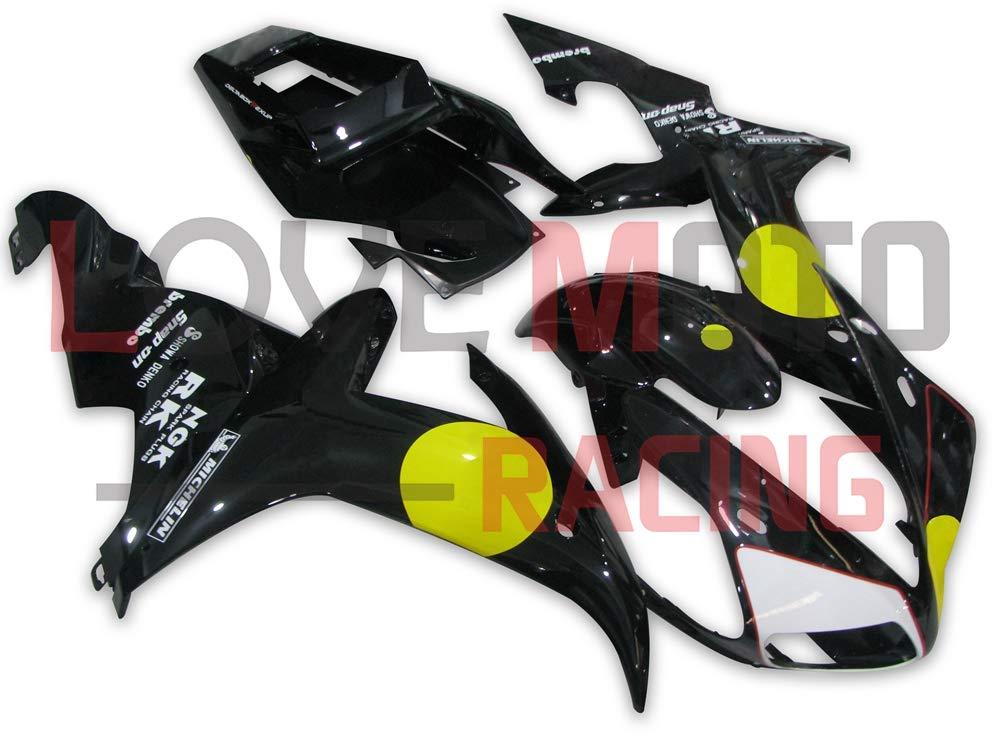 LoveMoto ブルー/イエローフェアリング ヤマハ yamaha YZF-1000 R1 2002 2003 02 03 YZF 1000 ABS射出成型プラスチックオートバイフェアリングセットのキット ブラック イエロー   B07KK9YKPQ