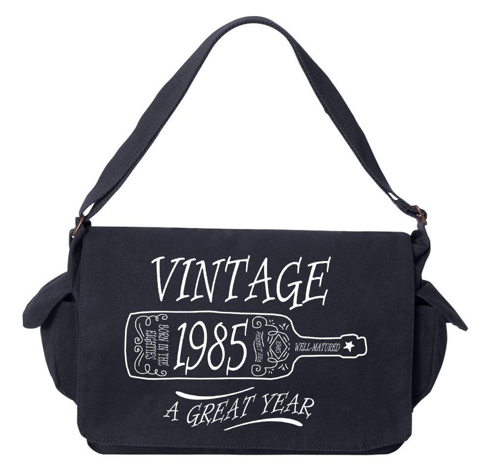 Tenacitee Aged Like a Fine Wine 1985 Navy Brushed Canvas Messenger Bag