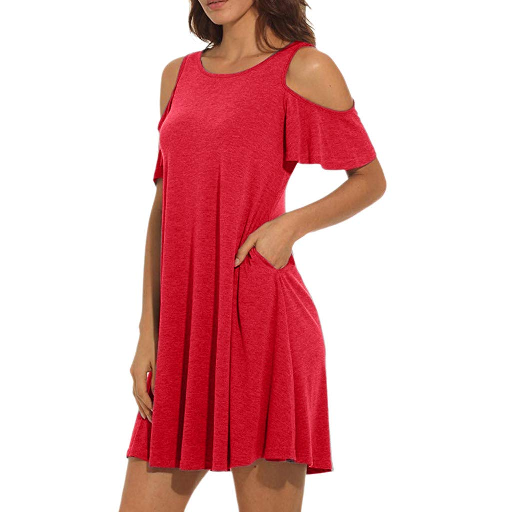 Garish  Women's Summer Shoulder Tunic T-Shirt Loose Dress with Pockets,Loose Siold O-Neck Skirt Dress Red