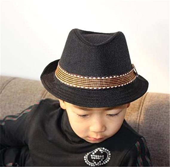 7c547c91ac5 Amazon.com  Interesting Elegant Children Boys Girls Unisex Fedora Jazz  Plaid Ribbon Baby Kids Cap Sun Hat  Clothing