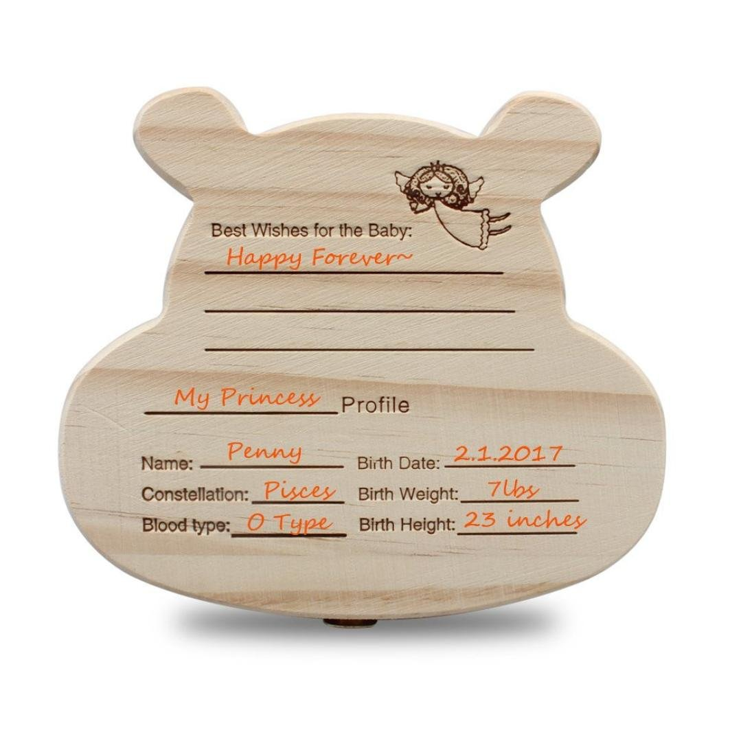 Diadia Baby Tooth Box Wooden Child Tooth Keepsake Organizer Cute Childwood Memory Gift for Baby Teeth Children Tooth Holder Container