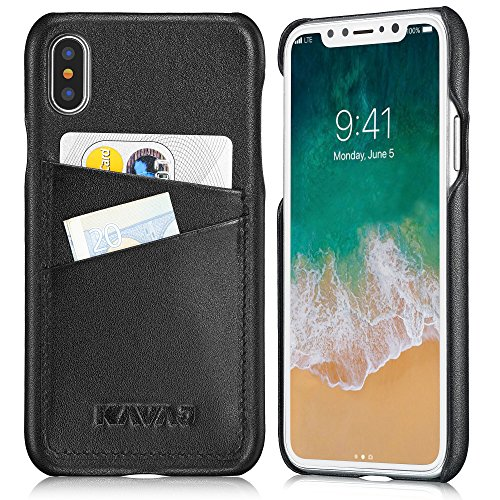 KAVAJ iPhone X/XS Case Leather Tokyo Black, Supports Wireless Charging (Qi), Slim-Fit Genuine Leather iPhone X Wallet Case Leather Bumper Case with Business Card Holder Cover for iPhoneX/XS