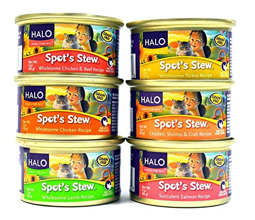 Halo Spot's Stew for Cats Variety Pack - 6 Flavors (Wholesome Lamb Recipe, Chicken, Shrimp & Crab Recipe, Wholesome Chicken & Beef Recipe, Succulent Salmon Recipe, Wholesome Turkey Recipe, and Wholesome Chicken Recipe) - 3 Ounces Each (12 Total Cans)