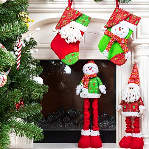 KI Store Christmas Santa Plush Snowman Plush and Christmas Stockings Set Standing Santa Snowman Figurine with Retractable Leg Xmas Décor for Fireplace Mantle Window Decorations Gift (Bright Set) ()