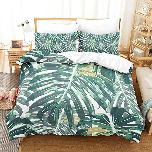 Linen_specialist Tropical Bedding Set Queen Plam Leaf Duvet Cover Set, Soft Microfiber Decorative Bedding Set with Zipper and Ties for Kids Girls Boys, 1 Duvet Cover(90x90) + 2 Pillowcases(20x26)