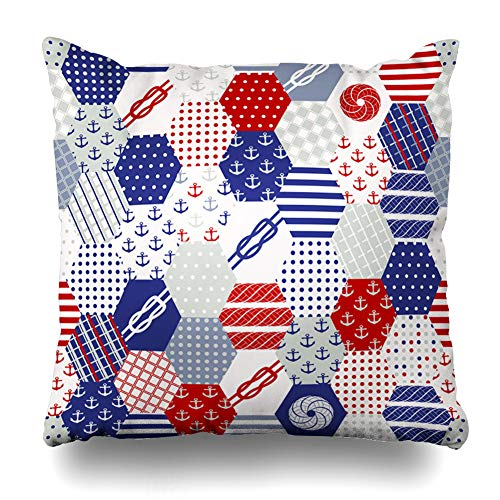 ArTmall Throw Pillow Case Line Blue Patchwork Nautical Patterns Use Create to Quilting Patches for Various Craft Projects Zippered Pillowcase Square Size 20 x 20 Inches Home Decor Cushion Covers