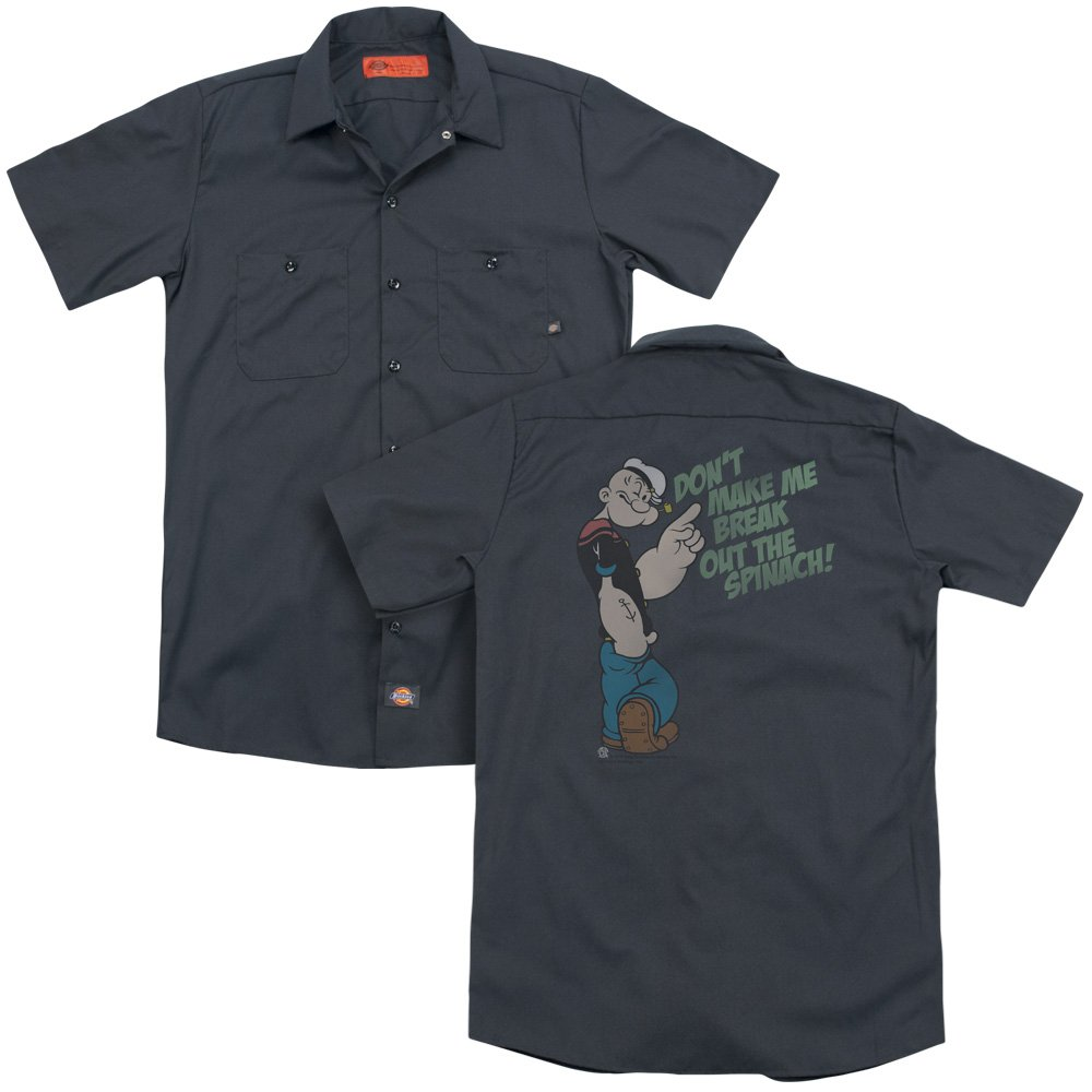 Popeye Break Out Spinach Adult Work Shirt