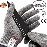 XDEER Cut Resistant Gloves - Food Grade Level 5 Protection, Safety Kitchen Cuts Gloves for Oyster Shucking, Fish Fillet Processing, Mandolin Slicing, Meat Cutting and Wood Carving, 1 Pair (S)