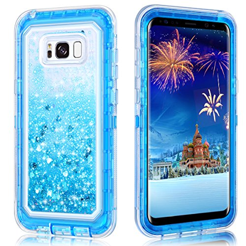 Galaxy S8 Plus Case,Wollony 360 Full Body Shockproof Liquid Glitter Quicksand Bling Case Heavy Duty Phone Bumper Soft Non-Slip Clear Rubber Protective Cover for Samsung Galaxy S8 Plus - Blue