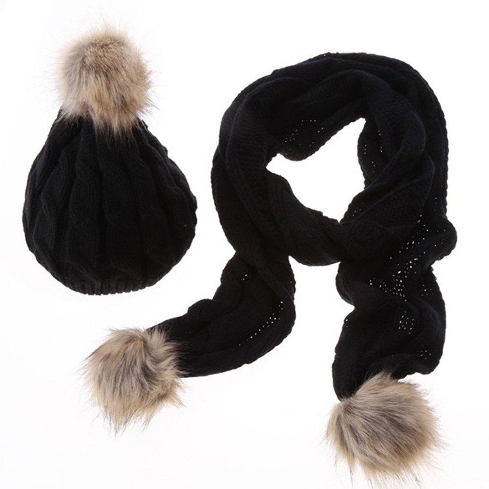ZUMUii Butterme Women Lady Fashion Winter Warm Knitted Beanie Hat and Scarf Set Pom Pom Skull Cap Wool Plush Ball Scarf Set