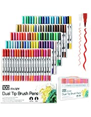 Laconile 100 Colours Brush Pen 2mm Brush Tip and 0.4mm Fineliner Tip Dual Tip Art Markers for Adult Colouring Drawing Painting Marker Pens