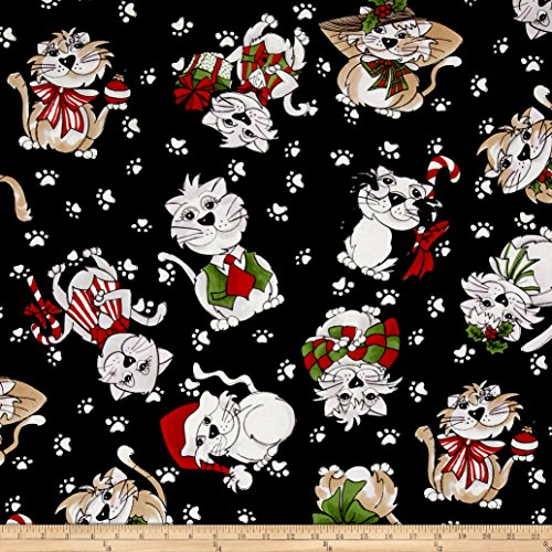 Loralie Designs Kitty Kitty Blizzard Black 45x110cm:ロラライハリス ねこ クリスマス 黒