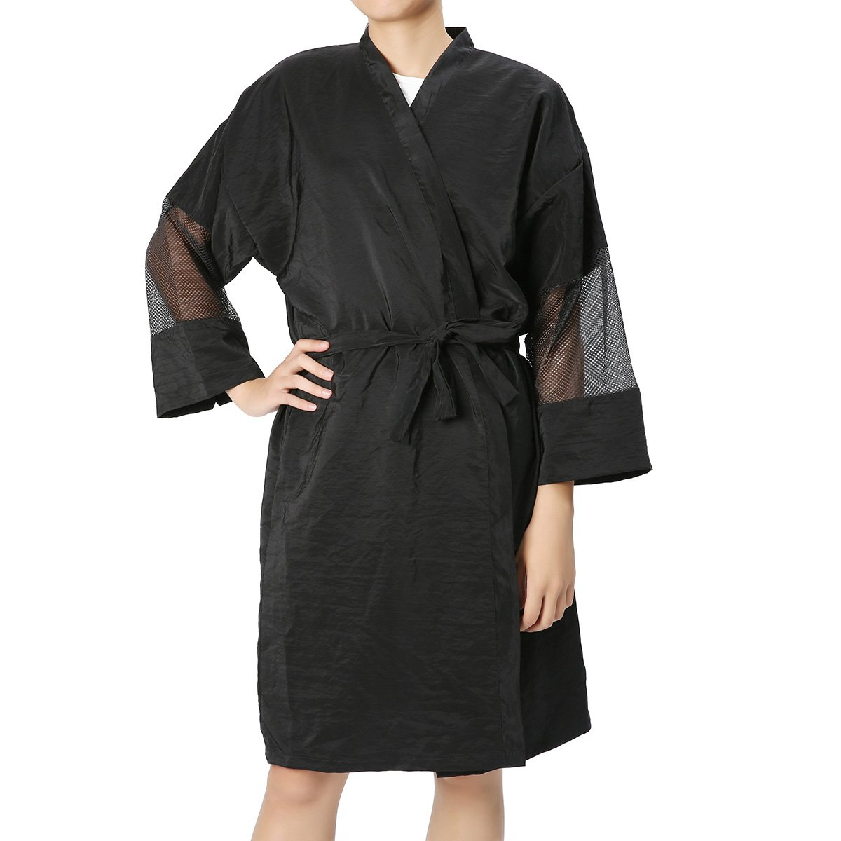 Unisex Black Salon Bathrobe, LuckyFine Waterproof Cape Kimono Robe/Gown Lightweight Water Repellent for Salon, SPA, Beauty Treatments