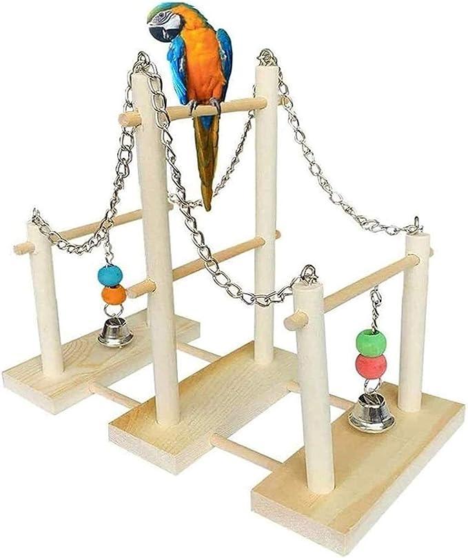 Jaula dpájaros duradera y ecológica, Loro jaula pájaro jaula de madera Parrot Playpen Entrenamiento Gimnasio Playground Perca con campanas de juguete Adecuado para jaulas de aves decorativas Suministr