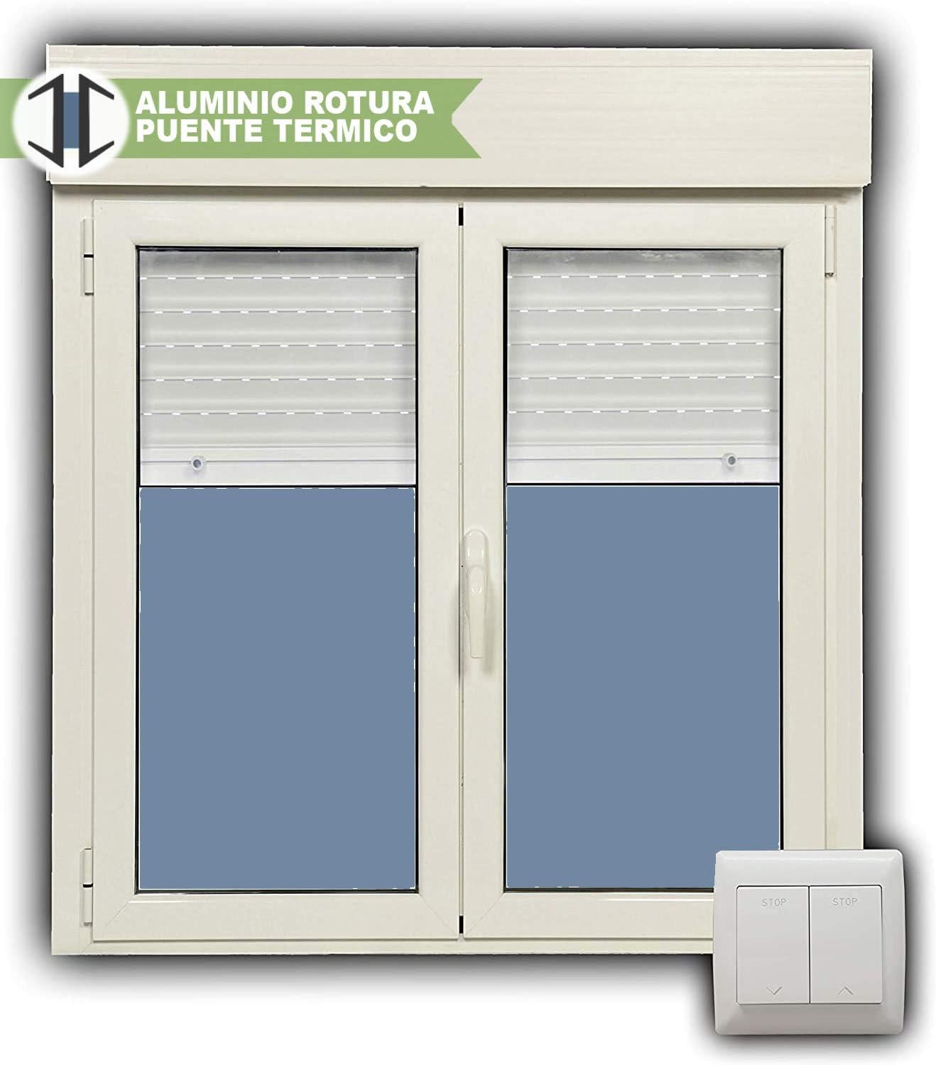 Ventana Aluminio RPT 45 Practicable Oscilobatiente 1000X1155 2 hojas con persiana motorizada, lamas de aluminio y cristal climalit: Amazon.es: Bricolaje y herramientas