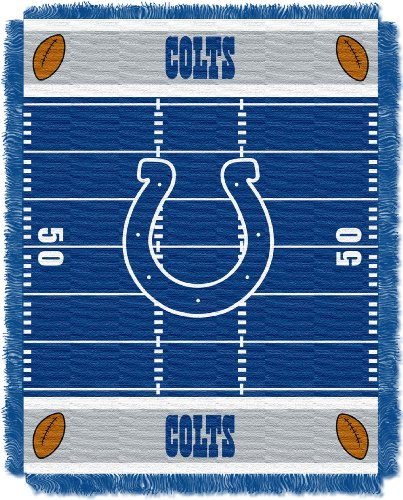 The Northwest Company Officially Licensed NFL Indianapolis Colts Field Bear Woven Jacquard Baby Throw Blanket, 36