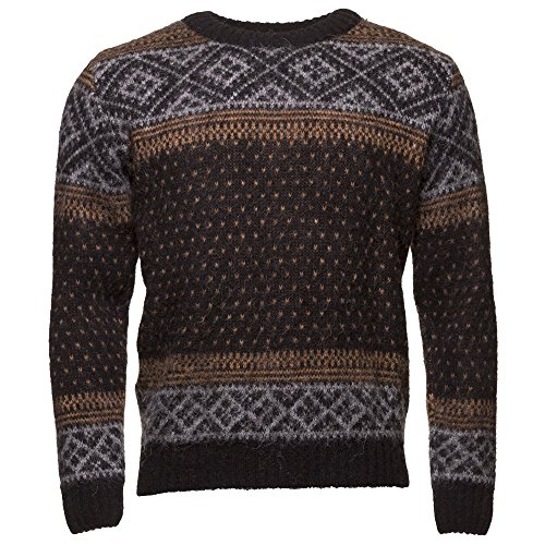 - ICEWEAR PETUR Men's Crewneck Sweater Nordic knit Design 100% Icelandic Wool Long Sleeve Winters Without Zip Sweater | Black - XL