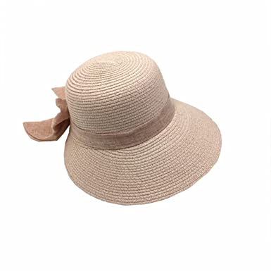 Aloiness Ladies Summer Sun Hat Fedora Trilby Hat Foldable Wide Brim Vintage  Style Seagrass Hat for 38b0a4b36d4f