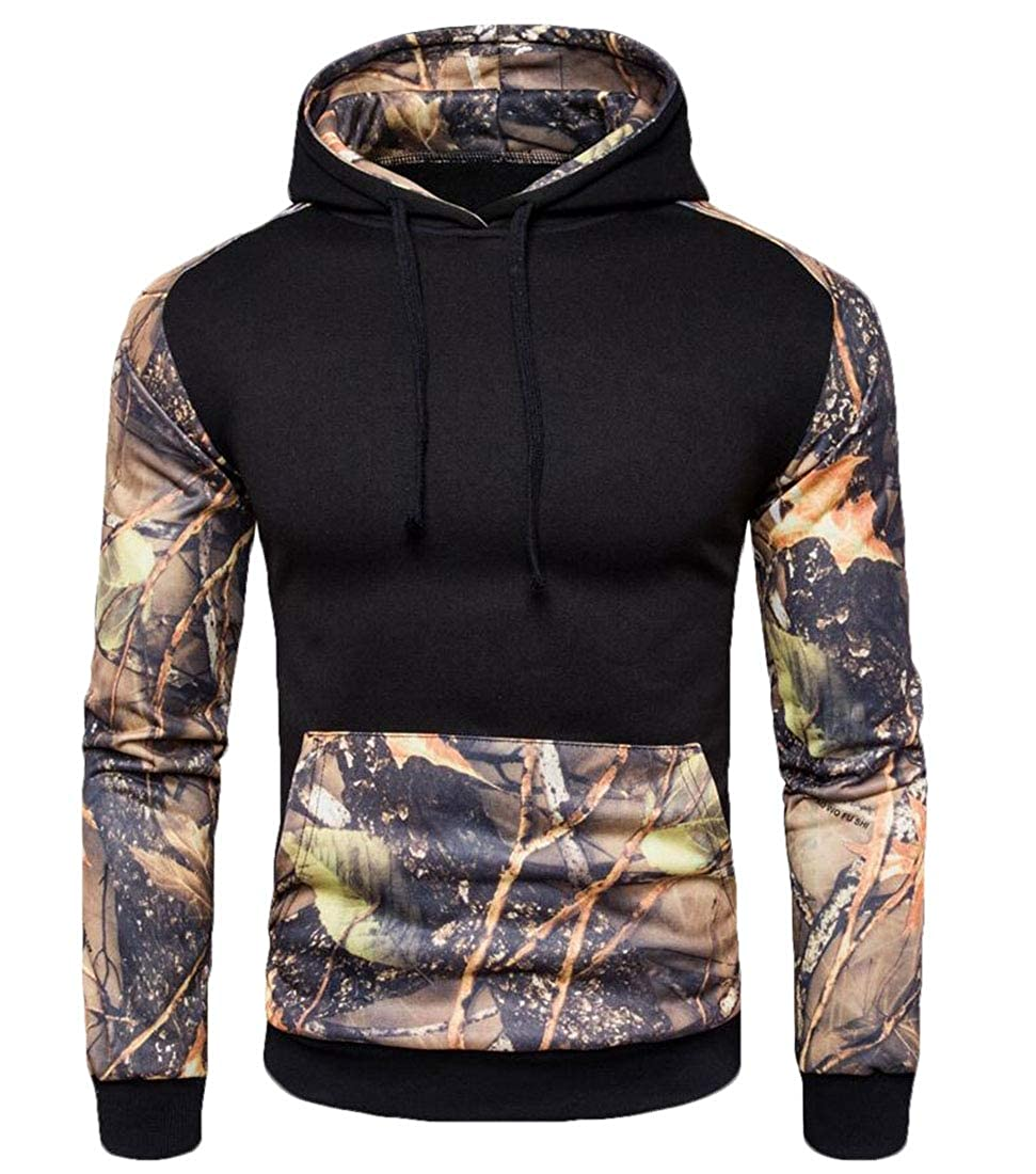 Gocgt Mens Loose Long Sleeve Hooded Print Patchwork Sweatshirt Tops