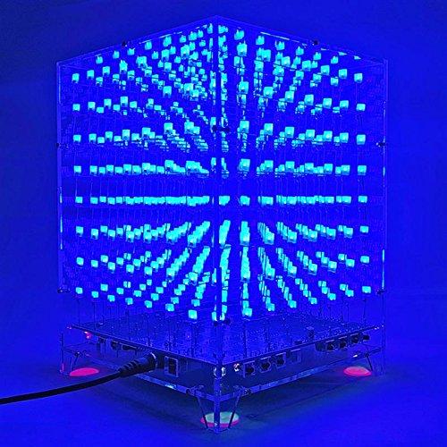 WOVELOT Conjunto de DIY Placa PCB de Espectro de Cubo Cuadrado 3D 8x8x8 LED luz Azul para Musica MP3