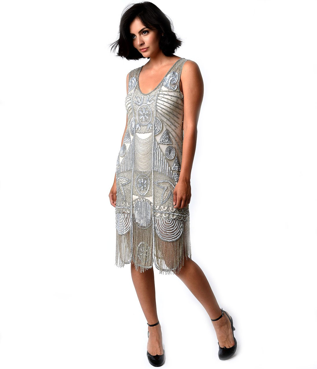 Unique Vintage 1920s Style Silver Beaded Fringe Bosley Flapper Dress by Unique Vintage