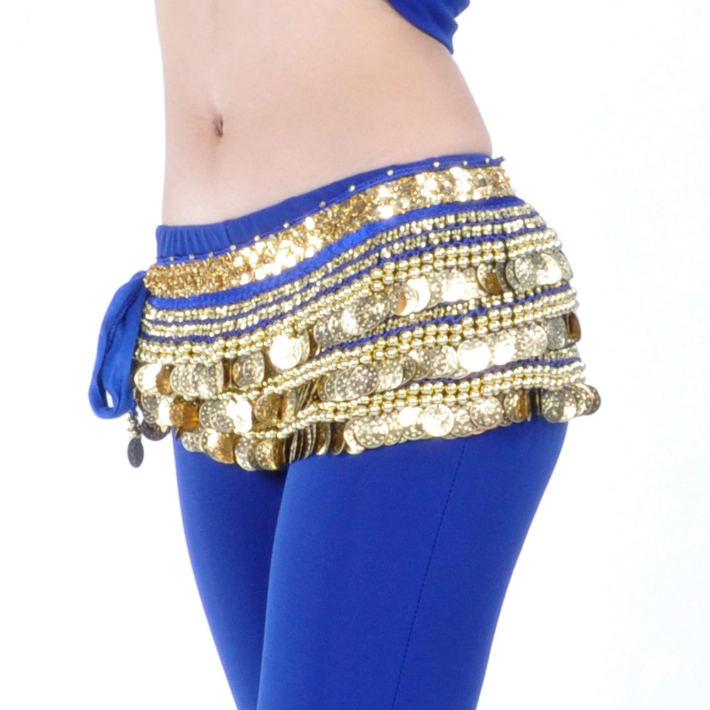 BellyLady Multi-Row Gold Coins Belly Dance Skirt Wrap & Hip Scarf, Gift Idea-NavyBlue