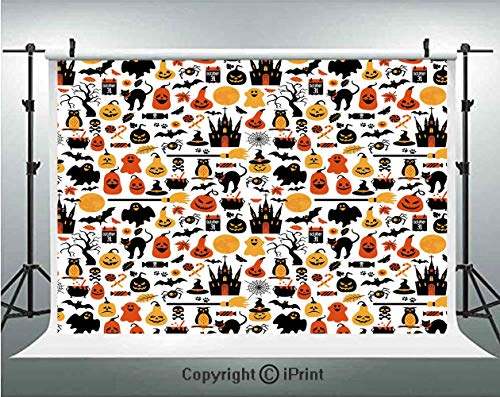 Halloween Photography Backdrops Halloween Icons Collection Candies Owls Castles Ghosts October 31 Theme Decorative,Birthday Party Background Customized Microfiber Photo Studio Props,10x6.5ft,Orange -