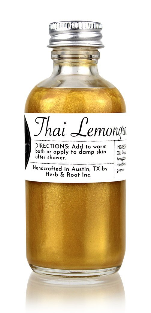 Lemongrass Gold Shimmer Glow Oil | After-Sun Natural Bronzing Moisturizer for Sun-Kissed Skin and Hair by Herb & Root
