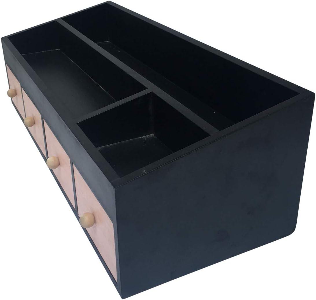 cameretta Ufficio HxLxP Nero Legno Chiaro Moderno - Art organizzatore cancelleria 4 cassetti 3 scompartimenti Misure 16 x 50 x 20 cm Rebecca Mobili Portaoggetti per scrivania RE6285