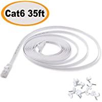 Cat 6 Ethernet Cable 35 ft, Flat Internet Network LAN Patch Cord, Faster Than Cat 5E, Solid Cat6 High Speed Computer RJ45 wire for Modem, Router, PS4, Xbox, Switch, Camera, TV Box, Hub, Adapter, White