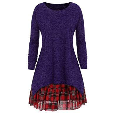 Keliay Women Casual Autumn Plus Size Plaid Two Piece Dress Skirt Blouse