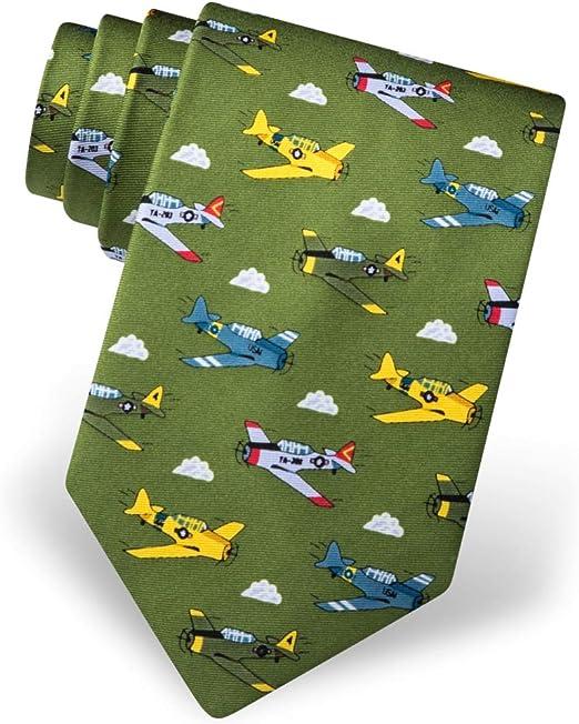 Alynn 100/% Silk Blue WWII Bomber Airplane Aviation Military Jets Necktie Tie